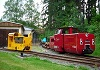 The two engine of the railway Ferienlandeisenbahn Crispendorf, Thuringia, Germany